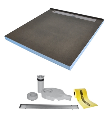 Tilefix wetroom tray. PROFESSIONAL 1SP (1slope, drain by the wall) liner drain with high efficiency trap.