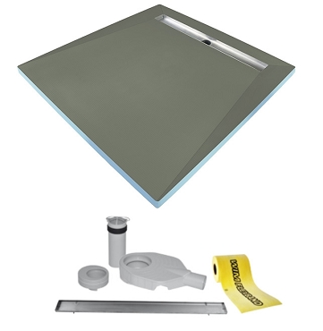 Tilefix wetroom tray. PRO 4S (4slopes) liner drain with high efficiency trap